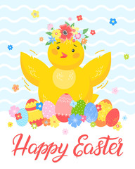 Easter typography.Happy Easter - hand drawn lettering with cute little chick,colorful eggs and flowers. Seasons greetings card perfect for prints, flyers,banners,holiday invitations and more.