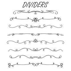 Thin line decoration dividers set,isolated on white background