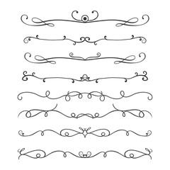 Thin line decoration dividers set,design elements isolated on white background