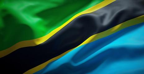 Flag of Tanzania. Real fabric.