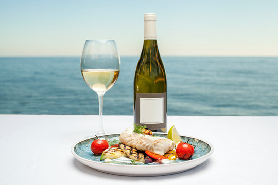 Dish with fish and wine