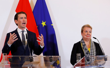 Austria's Chancellor Kurz and Social Minister Hartinger-Klein address the media in Vienna