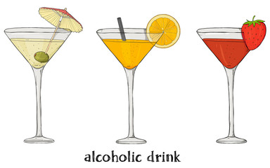 Set of three cocktails. Colorful vector illustration in sketch style.