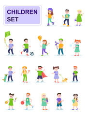 Set of children in different poses and different activities. Kids playing ball, rollerblading, painting. Cartoon characters isolated on white background. Flat vector illustration.