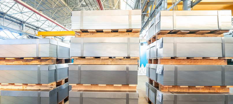 Industrial warehouse of metal sheets, business concept