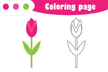 Tulip in cartoon style, coloring page, spring education paper game for the development of children, kids preschool activity, printable worksheet, vector illustration