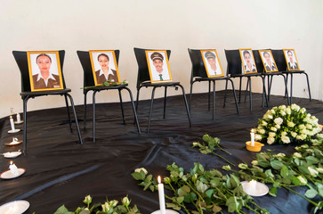 Photographs of crew members of the Ethiopian Airlines Flight ET 302 plane that crashed are seen during a memorial service by members of the Ethiopian Airline Pilots' Association in Addis Ababa
