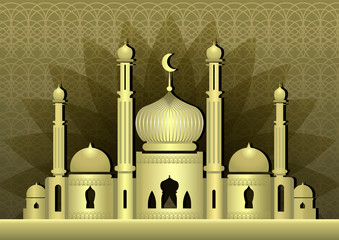 Magic mosque with minarets on olive background with arabiс pattern.   Ramadan Kareem design background. Vector illustration.
