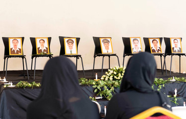 Members of the Ethiopian Airline Pilots' Association attend a memorial service for the Ethiopian Airlines Flight ET 302 plane that crashed, in Addis Ababa