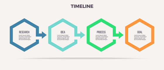 Business infographics. Timeline with 4 steps, options, hexagons. Vector template.