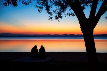 Silhouette, Austria, Sunset, Lake, Podersdorf