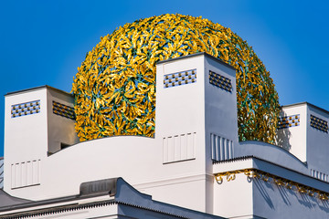 Close up of the gold colores cupola of the Secession Building in Vienna