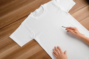 Painting on a white t-shirt