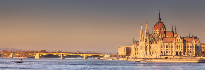Parliament building and river Danube of Budapest