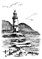 Sea landscape with a lighthouse. Sea hand drawn sketch illustration. Engraving poster for a children room. Beacon in the sea near Vladivostok, Russia.