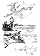 Ocean landscape with a lighthouse.Hand drawn sketch illustration. Poster for a children's room. Beacon in the ocean.Hornby Lighthouse in Australia.
