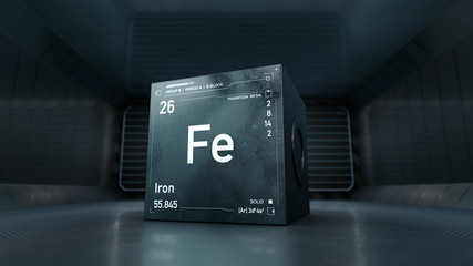 Futuristic design of Iron element symbol from the periodc table on metallic cube - 3D render with focus depth of field