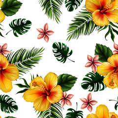 seamless flower with leaves pattern design