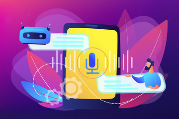 Wall Mural - Chatbot voice controlled virtual assistant concept vector illustration.