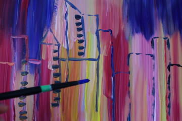 Abstract drawing painted with gouache. City and skyscrapers.
