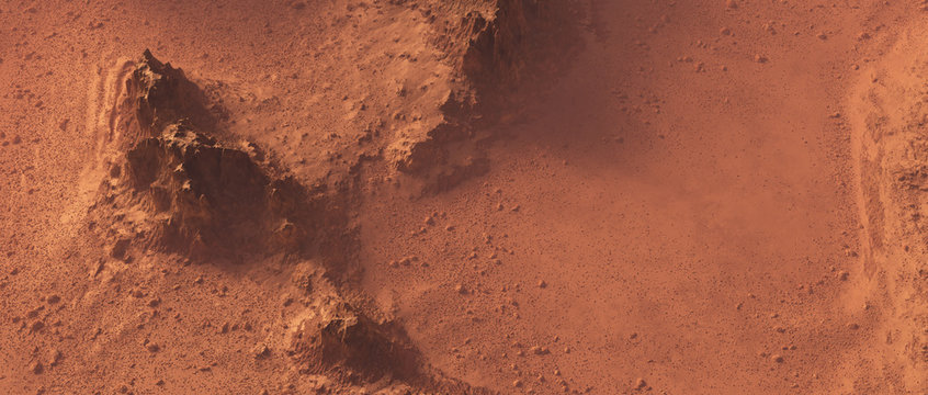 Rough rocky mars landscape from above.