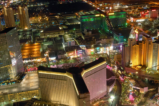 LAS VEGAS - JUNE 30, 2018: City view from helicopter at night. The city is the most famous world gambling destination