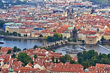 View of Prague, the capital city of the Czech Republic- snapshot of the summer