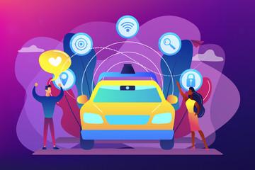 Autonomous driving concept vector illustration.