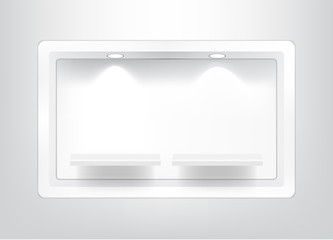 Mock up Realistic Empty Square Shelf for interior to Show Product with light and shadow on white background illustration