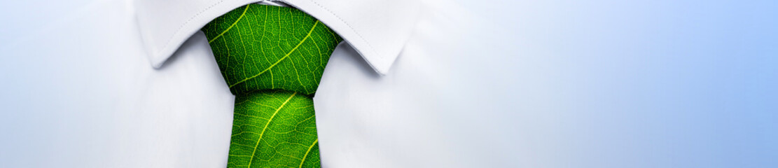 Ecology concept, business man with green leaf tie