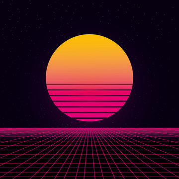 synthwave wireframe net and sun 80s Retro Futurism Background 3d illustration render