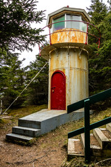 Lighthouse trail and lighthouse, Cow Head Peninsula, Newfoundland, Canada