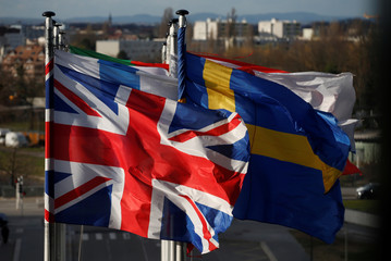 The British Union Jack flies with flags of European Union member states in front of the of the European Parliament in Strasbourg