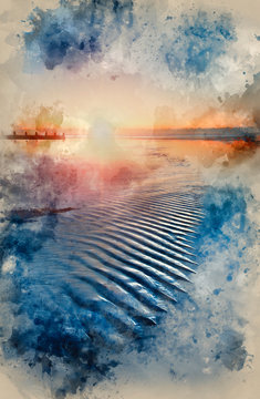 Watercolour painting of Beautiful low tide beach vibrant sunrise