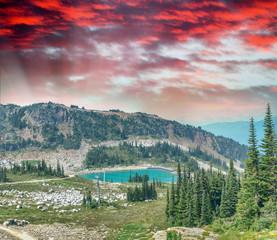 Beautiful lake of Whistler Mountains, Canada