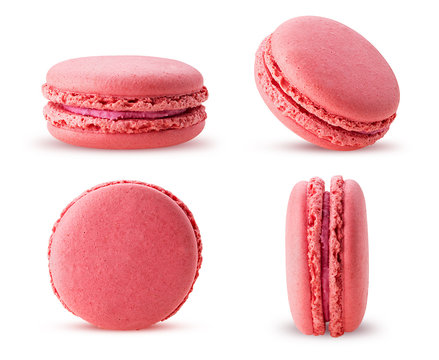 Set sweet raspberries macarons