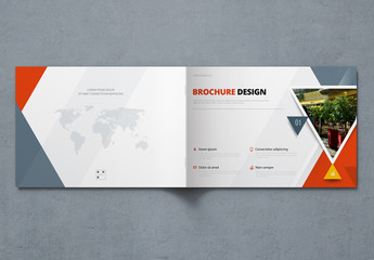 Landscape Business Report Cover Layout with Triangles