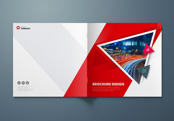 Square Red Business Report Cover Layout with Triangles