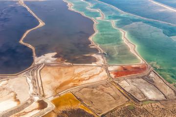 Totes Meer Israel Landschaft Natur Salz Salzgewinnung von oben Luftbild Jordanien