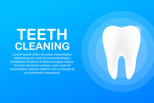 Teeth cleaning. Teeth with shield icon design. Dental care concept. Healthy Teeth. Human Teeth. Vector illustration.