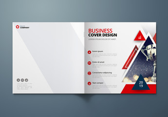 Square Business Report Cover Layout with Triangles