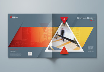 Square Grey Business Report Cover Layout with Orange Triangles