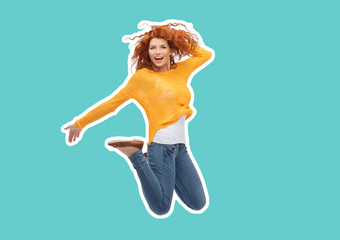 happiness, freedom, movement and people concept - magazine style collage of smiling young woman jumping in air over blue background