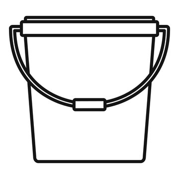 Plastic bucket icon. Outline plastic bucket vector icon for web design isolated on white background