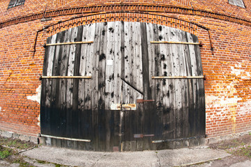 Old barn door wide angle view