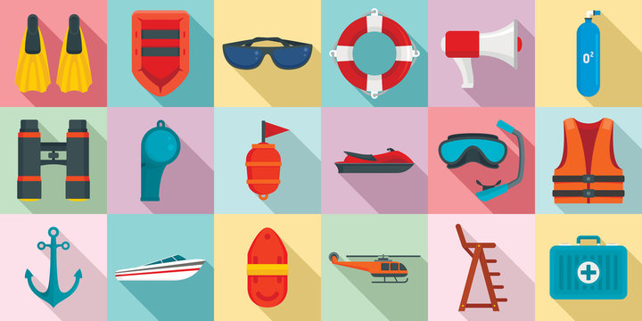 Sea safety icons set. Flat set of sea safety vector icons for web design