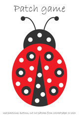 Education Patch game ladybug for children to develop motor skills, use plasticine patches, buttons, colored paper or color the page, kids preschool activity, printable worksheet, vector