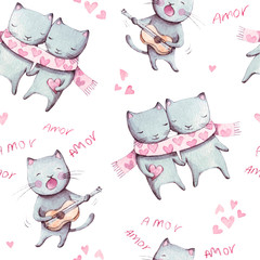 Cats seamless pattern. Watercolor illustration. Pink, white cats. Pattern for a gift, textile.