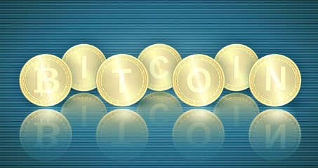 Horizontal web banner with gold bitcoin