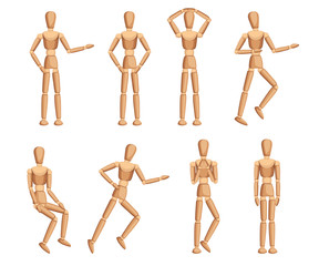 Wooden mannequin collection. Dummy with different poses. Cartoon flat style. Vector illustration isolated on white background